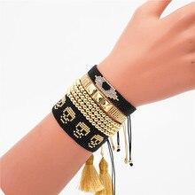 Shinus Miyuki Turkish Evil Eye Bracelet Men Skull Jewelry Summer Bracelets  Women Handmade Joyeria Gold Stainless Steel