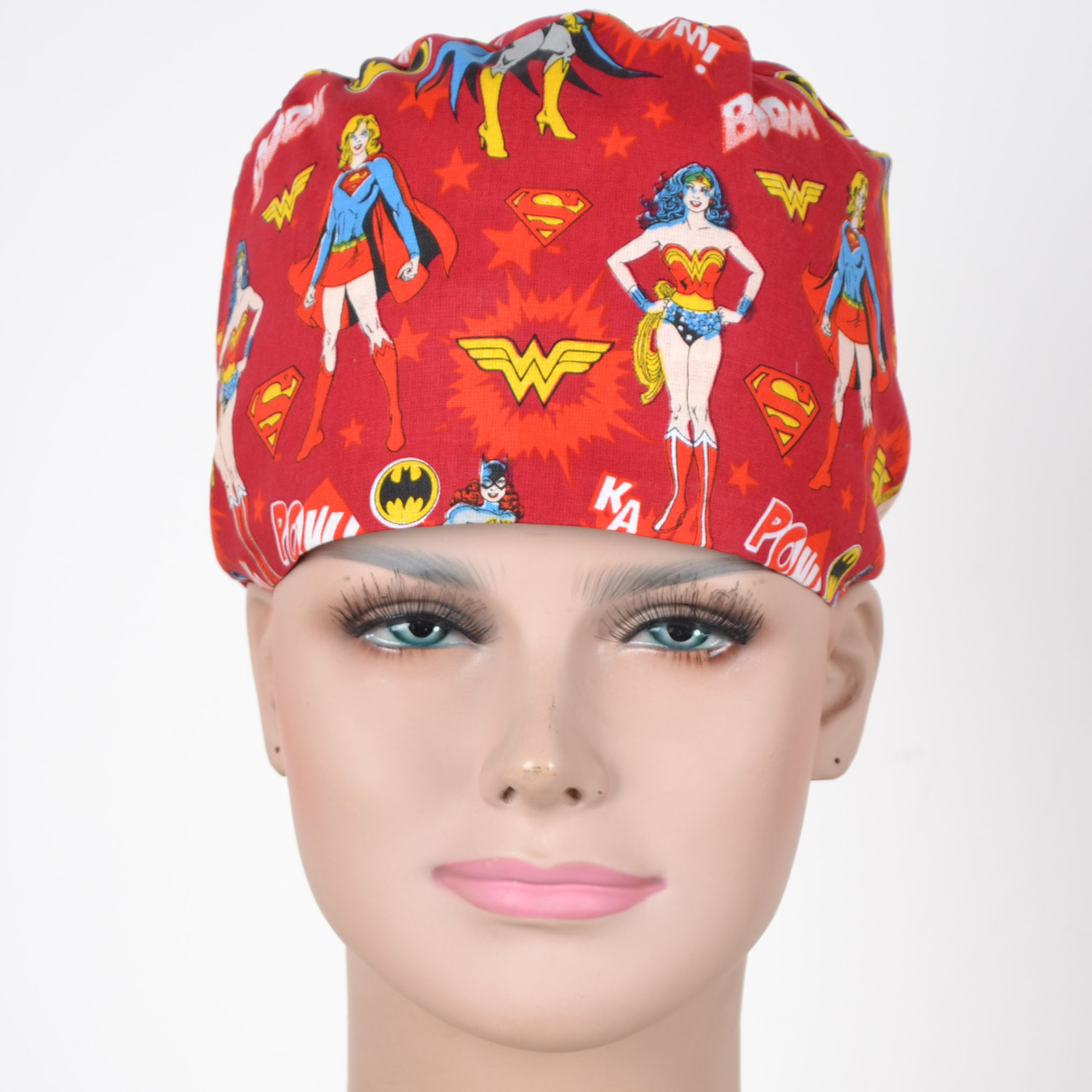 Women Medical  Caps 100% Cotton  In Red With Cartoon Prints Surgical Caps With 2 Sizes ,masks Are Available