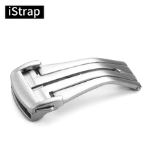 iStrap 18mm 20mm Silver 316L Stainless Steel Brushed Deployment Watch Buckle Folding Clasp For Omega Watch Strap Band Buckle
