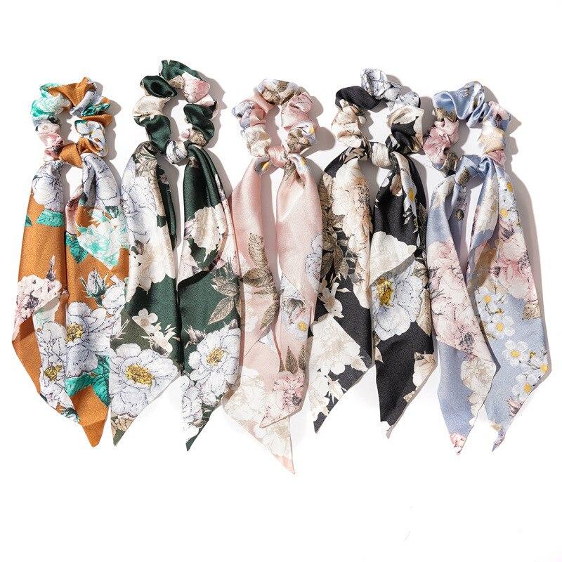2020 New Style Vintage Bohemian Hair Band Ribbon Hair Rope Scrunchie Women Elastic Headbands Hair Ties Female Hair Accessories