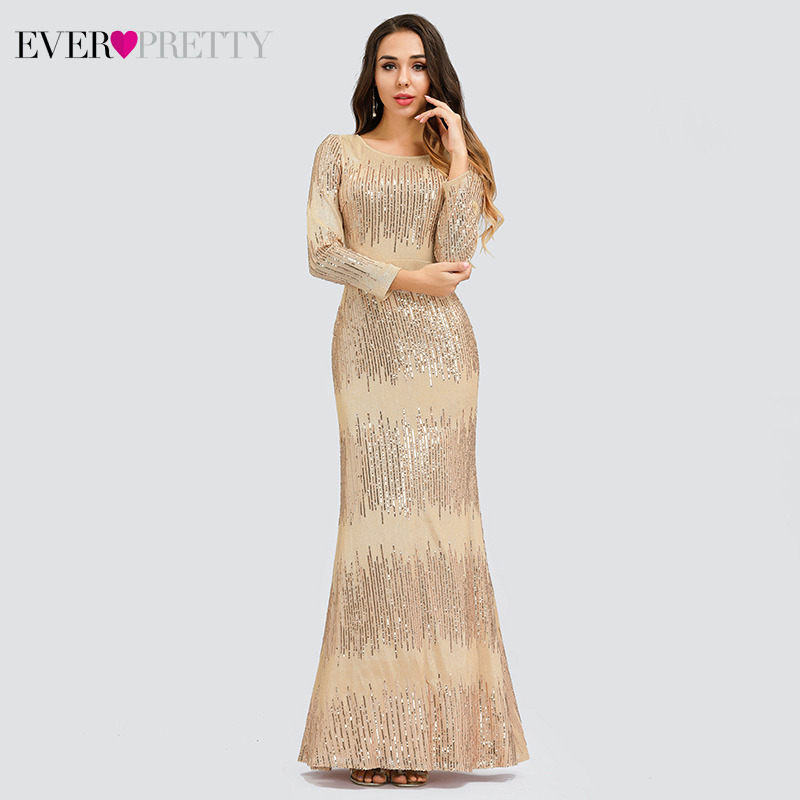 Luxury Rose Gold Prom Dresses Ever Pretty Mermaid Sequined Long Sleeve O-Neck Saudi Arabia Sexy Party Gowns Vestido Fiesta Largo