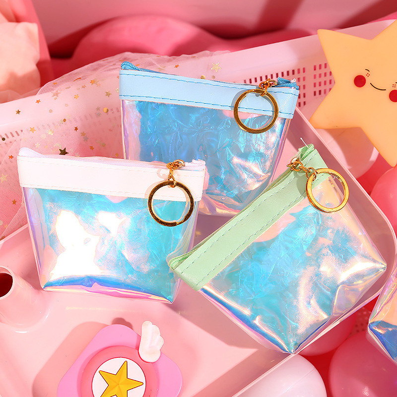 1365 Soft Pink GIRL'S Heart Purse Transparent Laser Jelly Simple Wrist Bag Data Cable Headset Waterproof Storgage Bag