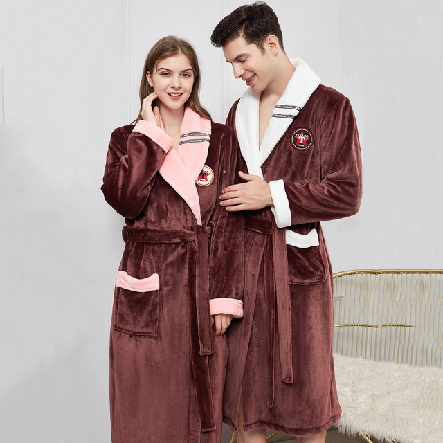 الشتاء الدافئة عشاق كيمونو Bathrobe ملابس خاصة سيدة الرجال إطالة و رشاقته رداء الفانيلا رداء النوم غير رسمي Homewear حجم كبير 4XL