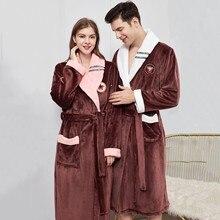 Kış sıcak severler Kimono bornoz pijama bayan erkek uzatın ve kalınlaştırmak bornoz pazen rahat gecelik gecelik artı boyutu 4XL