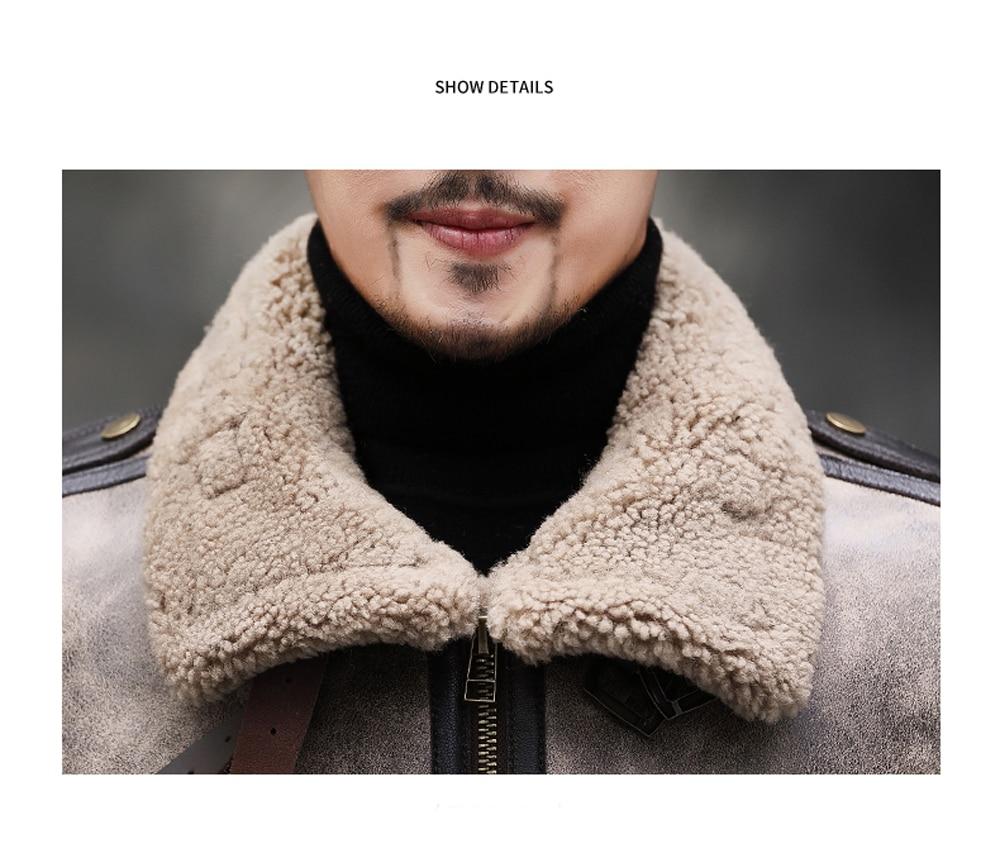 H54423e6c1d2d42238eb243e21571a469O 2019 Fashion 100% Quality Real Sheepskin Fur Men Coat Genuine Full Pelt Sheep Shearling Male Winter Jacket Brown Men Fur Outwear