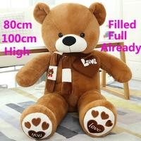 80 100cm 1m Giant filled full Big Large teddy bears Stuffed toys pink children birthday gift soft Pillow teddies plush Dolls