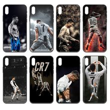 Football CR7 Football Ronaldo soft cell housse noire pour iphone 4 4s 5 5s SE 5C 6 6S 7 8 plus X XS XR 11 PRO MAX 2020(China)