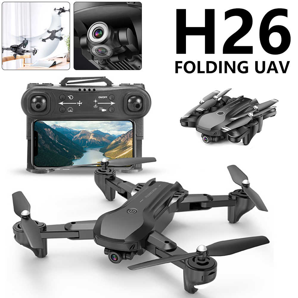 H26 RC Drone Optical Flow Positioning 4K HD Dual Kamera Profesional Fotografi Udara Helikopter Foldable Quadcopter Mainan