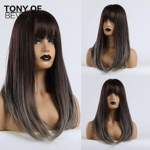Image 1 - Długie peruki syntetyczne proste z Bangs Ombre ciemnobrązowe do szarych peruk dla kobiet Cosplay peruka z naturalnych włosów włókno termoodporne