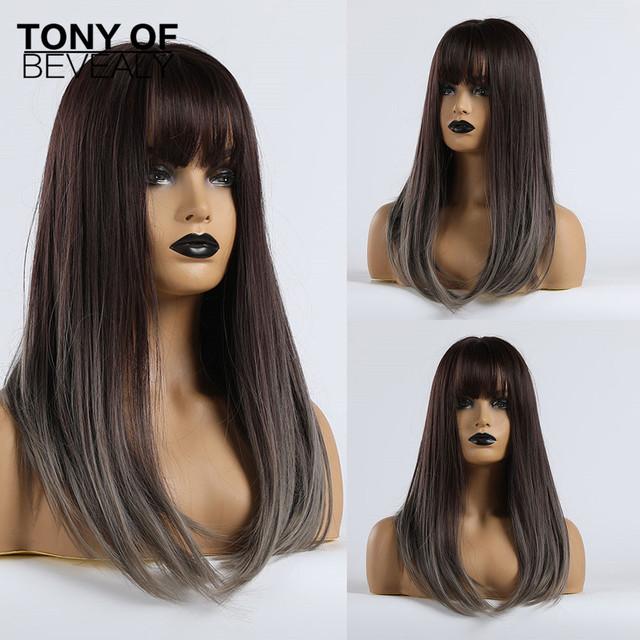 Long Straight Synthetic Wigs With Bangs Ombre Dark Brown to Gray Wigs for Women Cosplay Natural Hair Wig Heat Resistant Fiber