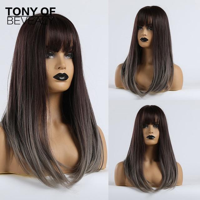 Pelucas sintéticas largas y rectas con flequillo pelucas de color marrón oscuro a gris para mujeres, peluca de pelo Natural Cosplay, fibra resistente al calor