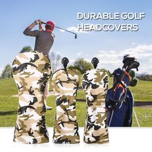 3 Pcs Golf Head Covers Set Wood with Numbers Outdoor Sports PU leather Ball