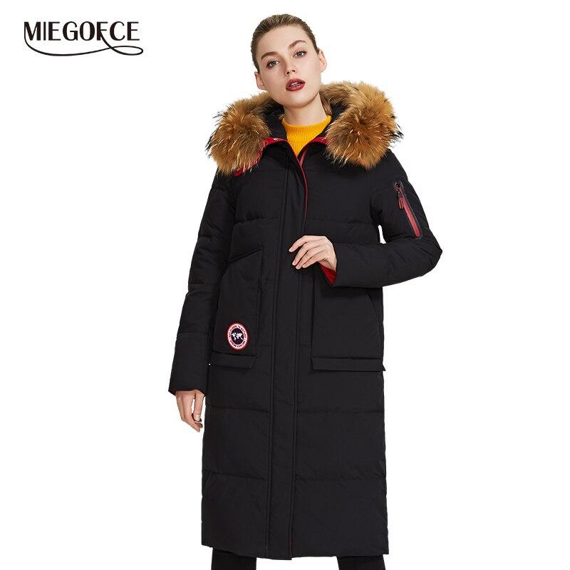 Miegofce 2019 nova coleção de inverno casaco feminino jaqueta de inverno com capa de pele remendo parka bolso que destaca seu estilo encantador