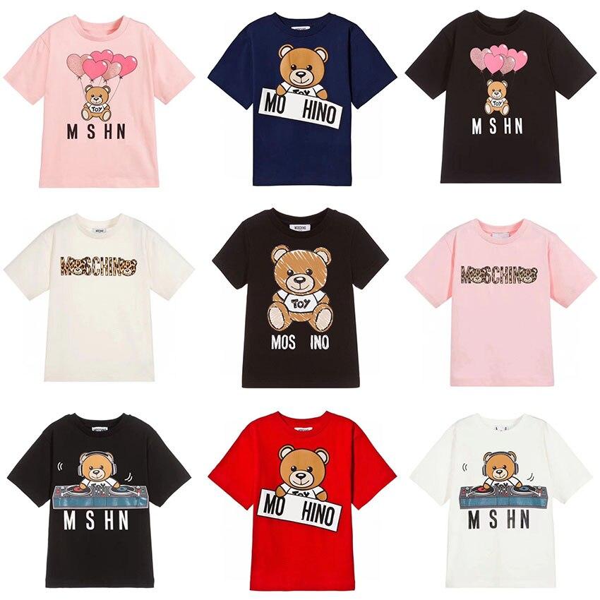 2020 Summer Fashion Unisex Cute Teddy Bear Print T-shirt Masha And Bear  For Boys And Girls Short Sleeve Designer Funny Tops 8Y