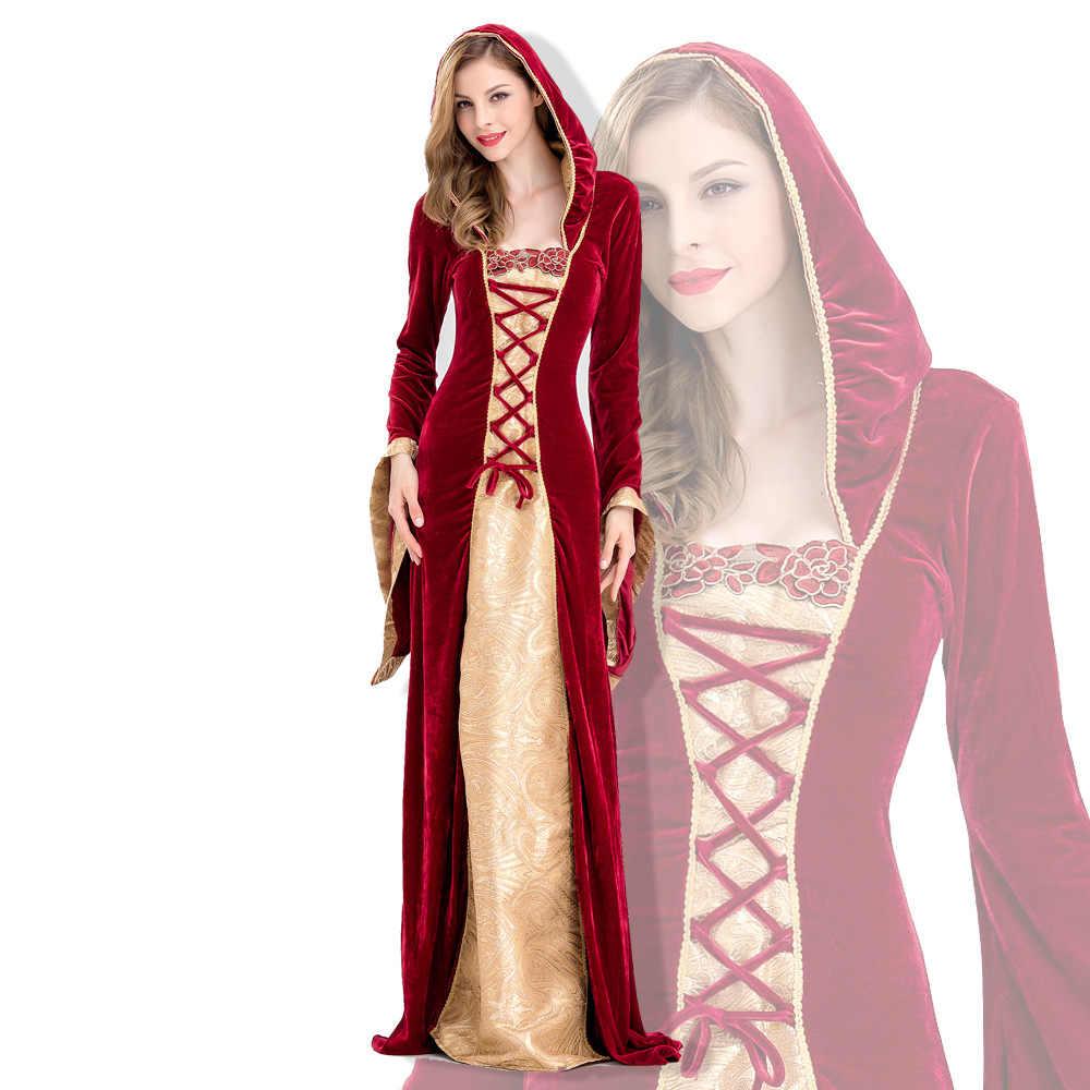 L сексуальное платье ведьмы с капюшоном в готическом стиле для взрослых женщин; Новинка; праздничный костюм Medieva; вечерние костюмы ведьмы вампира; длинное маскарадное платье