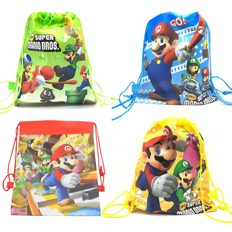 Super Mario Bros Birthday Party Supplies Drawstring Gift Bag Mario Party Bag For Kid Birthdays Non-Woven Fabric Child School Bag