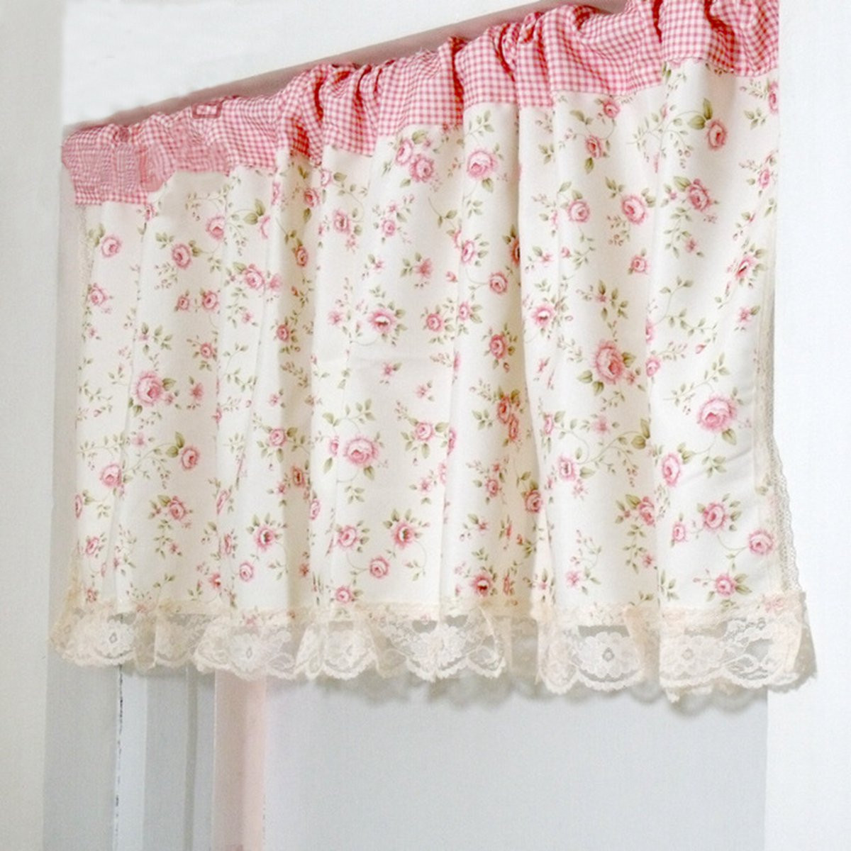 Pastoral Foral Flower Printed Door Window Curtain Sheer Valance Cloth With Lace Drape Veil Panel Rod Bedroom Room Decor <font><b>150X50cm</b></font> image