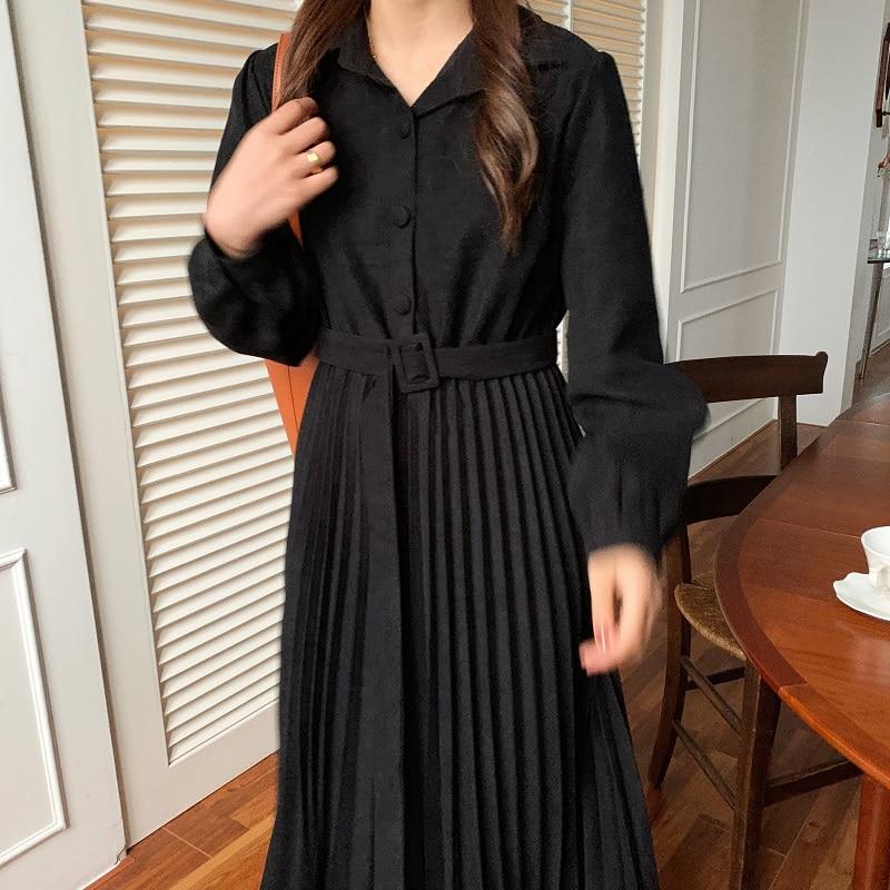 H54430ceff97048cc81607c0c781505edV - Autumn Turn-Down Collar Long Sleeves Pleated Solid Midi Dress