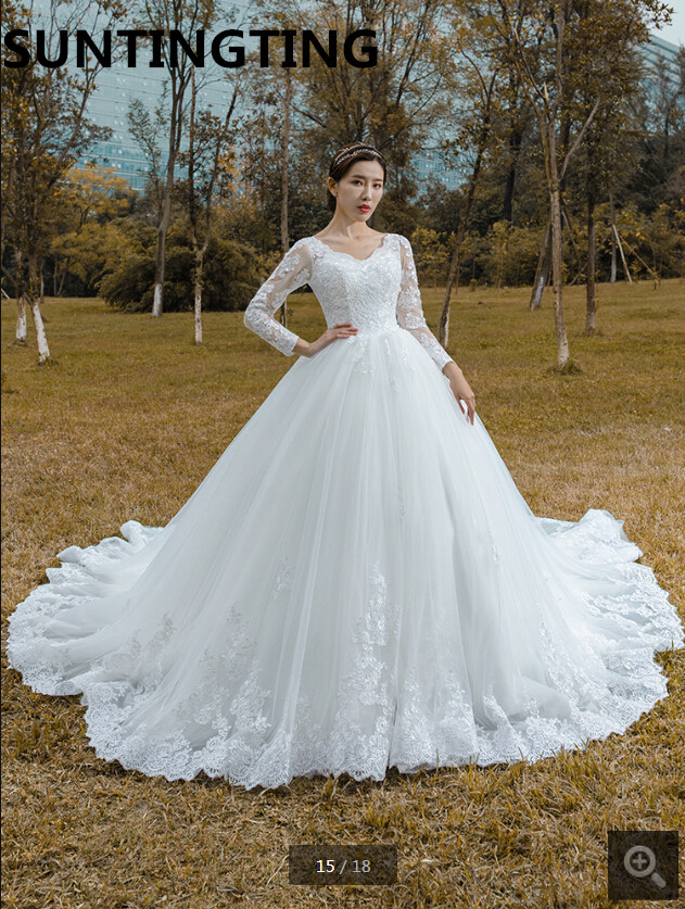 2020 luxury modest ball gown wedding dress v neck long sleeve lace appliques plus size bride dress new sheer back sexy wedding