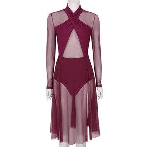 Image 3 - נשים הלטר ארוך שרוולים לראות דרך Sheer רשת בלט שמלת ריקוד התעמלות בגד גוף למבוגרים עכשווי לירי ריקוד תלבושות