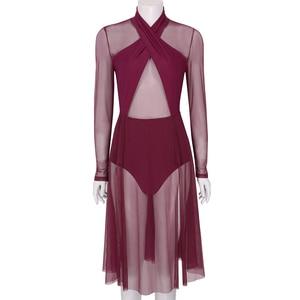 Image 3 - Vestido collant feminino, collant mangas compridas transparente malha pura vestido de dança ginástica adulto fantasia contemporânea traje de dança