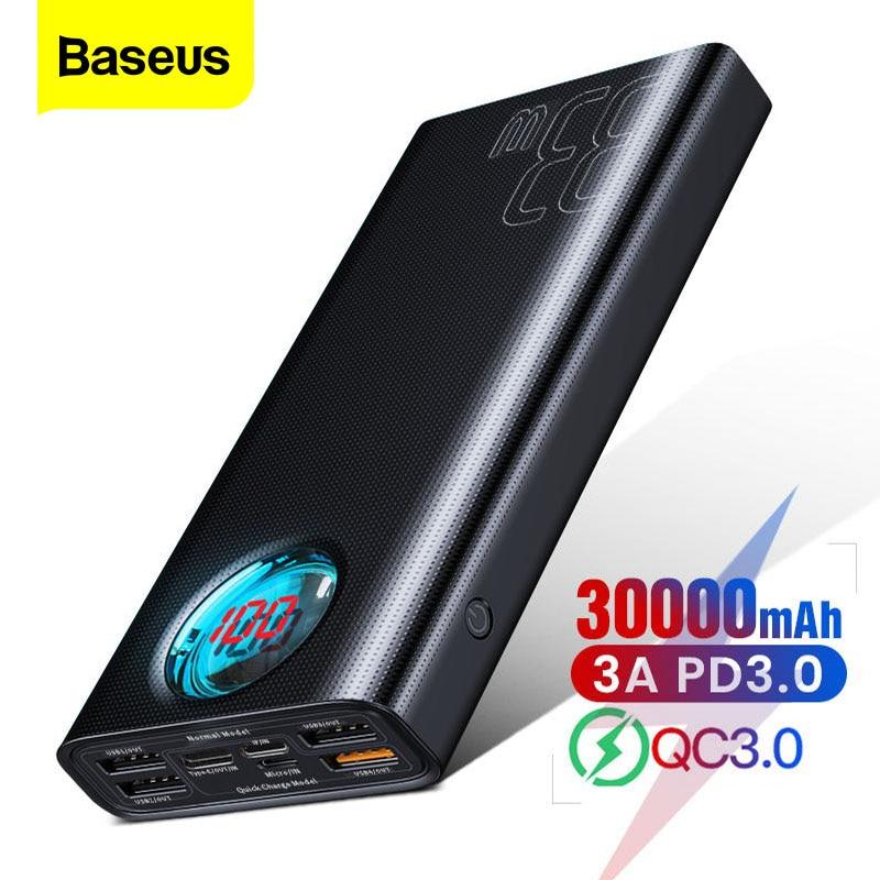 Baseus 30000 mah banco de potência usb c pd carga rápida 3.0 30000 mah powerbank para xiao mi iphone portátil carregador de bateria externa Baterias Externas     - title=