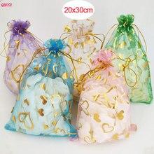 50 шт./лот 20x30 см большие сумки из органзы, мешочки для ювелирных изделий или свадебные конфеты упаковка Подарочная сумка 7ZSH328