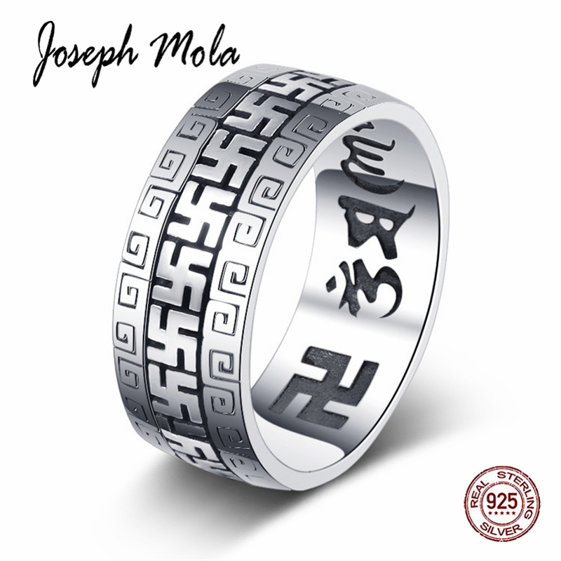 Joseph Mola 925 Sterling Silver Swastika Rings Exquisite Buddha's Ring For Men Women Unisex Fine Sliver Blessing Jewelry Gift