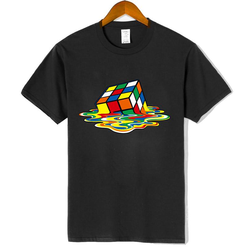 New Men's Casual High Quality100%Cotton Short Sleeve T Shirt Magic square printing o neck t shirt casual hip hop t shirt for men