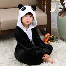 25 Panda Kids Pajamas Onesies Children Flannel One piece Sleepwear Bear Pijama Costume Cosplay For Halloween Bodysuit(China)