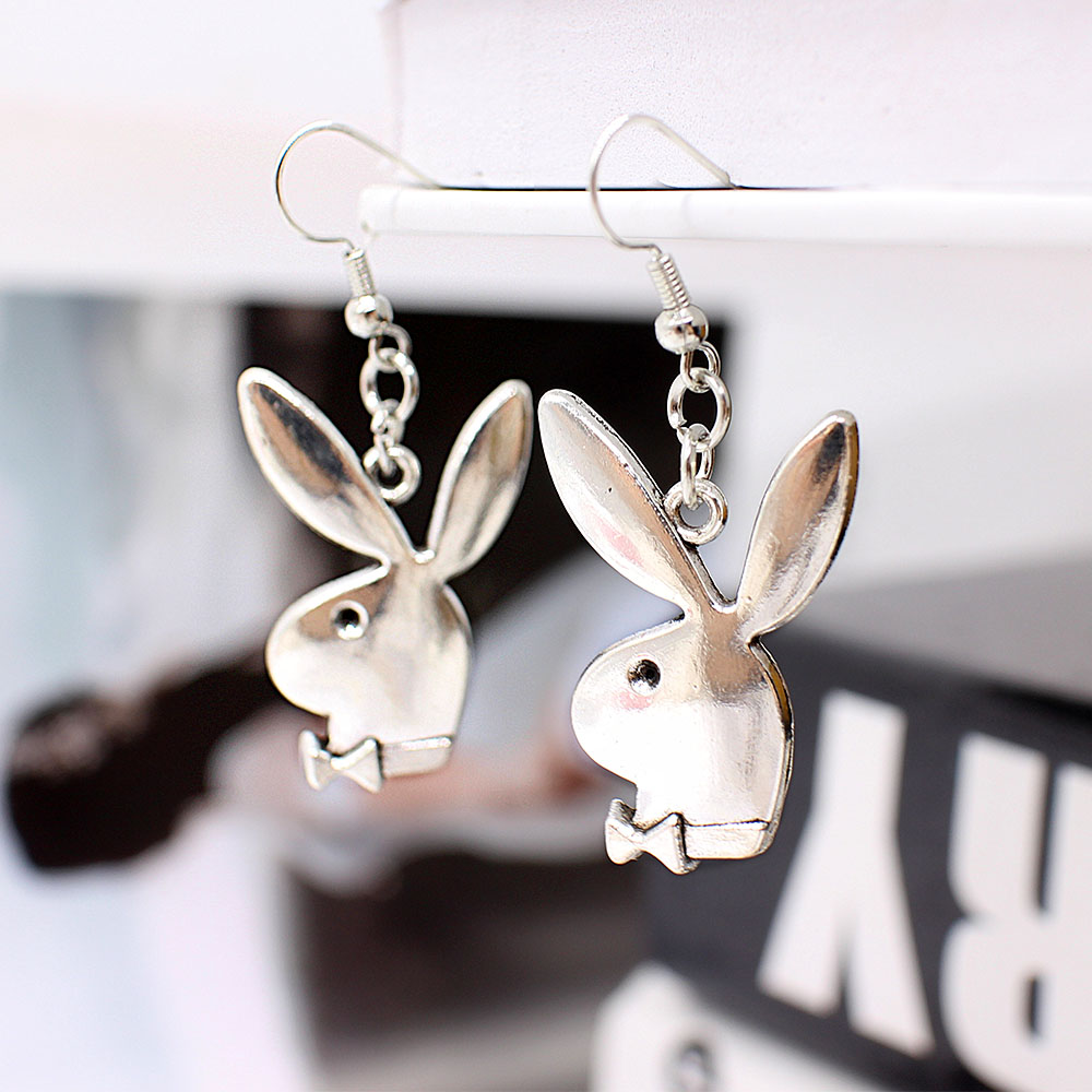 punk funny animals bunny dangle earring vintage hiphop rabbit head drop earrings for women girls gifts brincos para as mulheres 3