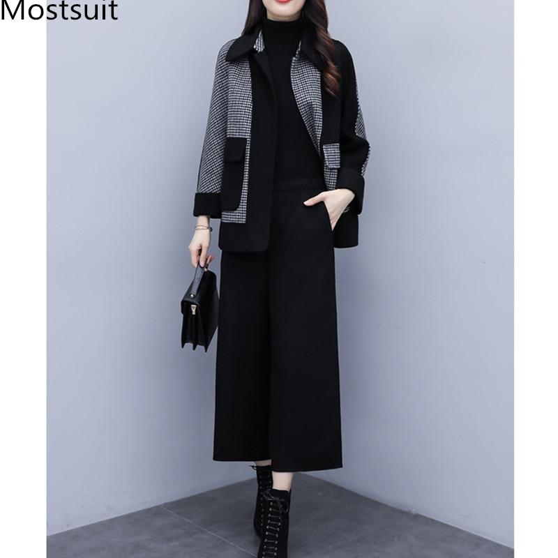 2019 Autumn Winter Black Woolen Two Piece Sets Outfits Women Plus Size Plaid Coat + Wide Leg Pants Suits Elegant Fashion Sets 25