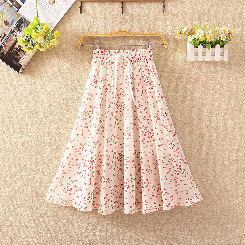 Women's Floral Skirt High Waist Long Summer 2020 Printed Chiffon Skirt Summer Woman Skirts Mujer Faldas Saias Mulher 2