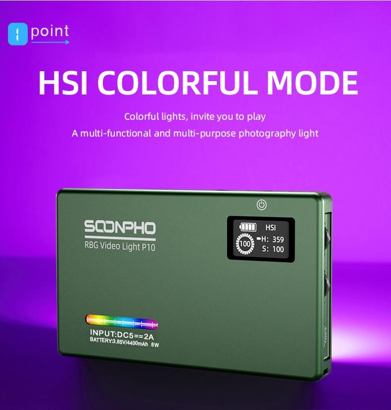 H5443920f273d409dba479b042de4ca3eJ soonpho RGB LED Camera Light Full Color Output Video Light Kit Dimmable 2500K-8500K Bi-Color Panel Light CRI 95+