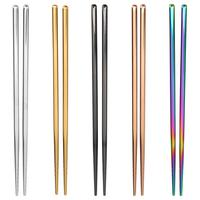Palillos antideslizantes de Metal reutilizables de acero inoxidable para Sushi, juego de barras de comida, vajilla, herramienta de cocina, 1 par