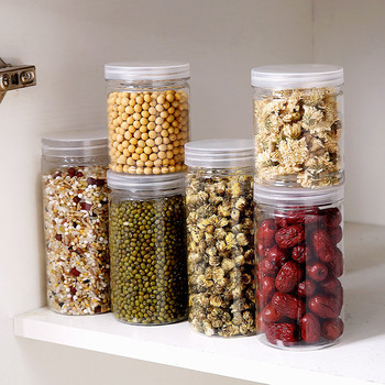 Grain Storage Box Sealed Cans Household Kitchen Plastic Covered With Transparent Jar Noodles Miscellaneous Grain Storage Cans image