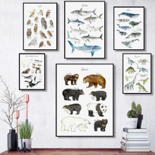 Wall Art Canvas Painting Dinosaur Lion Fox Deer Animal Art Prints Nordic Posters And Prints Wall Pictures Baby Kids Room Decor beautiful peacock feather minimalist nordic posters and prints wall art canvas painting wall pictures baby kids room home decor