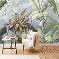 Пользовательские обои тропический лес Банановый Лист ручная роспись художественная настенная живопись гостиная спальня росписи Papel де Parede...