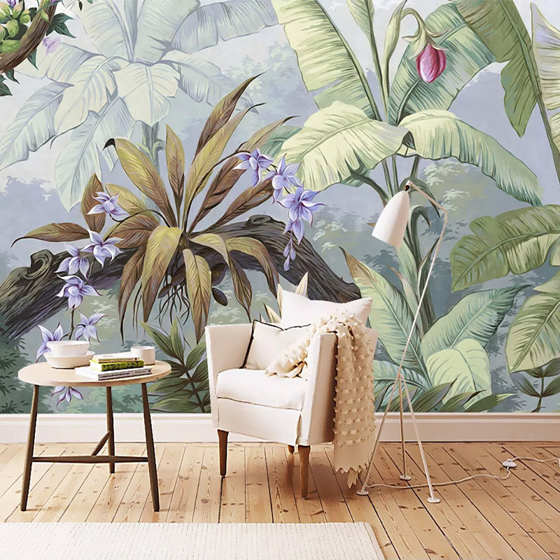 Custom Wallpaper Tropical Rainforest Banana Leaf Hand Painted Art Wall Painting Living Room Bedroom Mural Papel De Parede 3D
