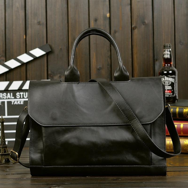 New Korean Men's Bag Crazy PU Leather Shoulder Messenger Handbags Business Laptop Briefcase Vintage Large Capacity Office Bags