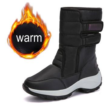 Kobiety śniegowe buty platformy zimowe buty damskie buty grube pluszowe wodoodporne antypoślizgowe buty damskie zimowe buty duży rozmiar botas mujer tanie i dobre opinie HAJINK Cotton Fabric Połowy łydki Okrągły nosek Zima Krótki pluszowe RUBBER Płytkie Mieszkanie (≤1cm) Hook loop