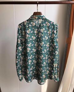 Image 4 - Woman Shirt Green Floral Cotton Silk Shirt Spring New Romantic Soft Long Sleeve Shirt