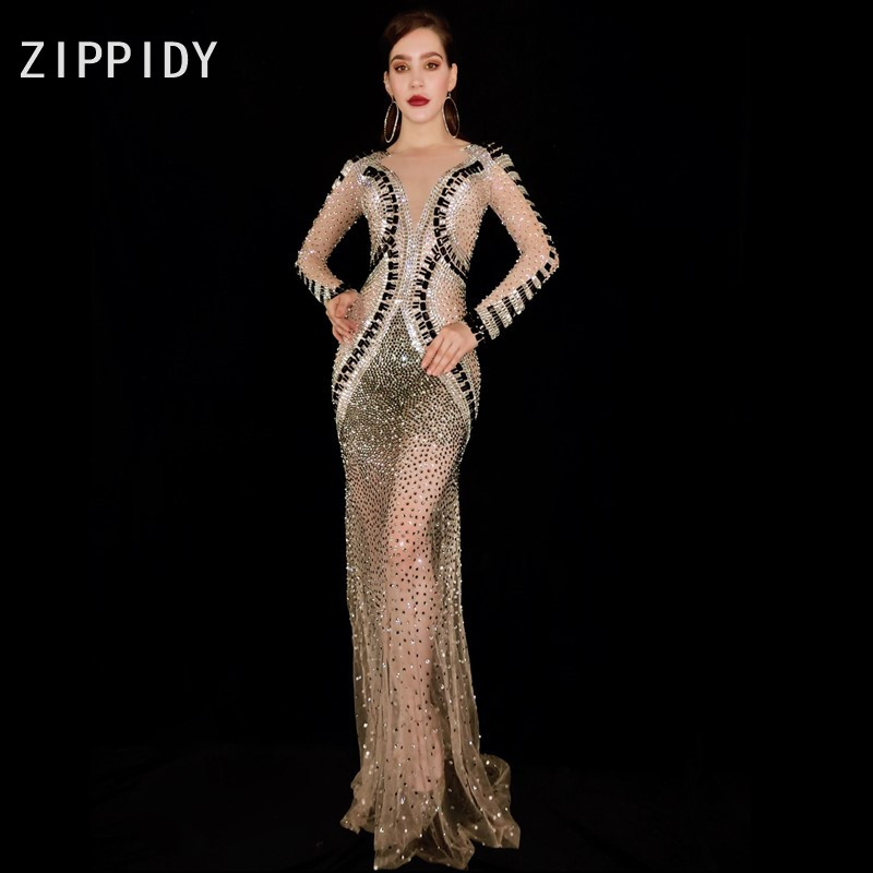 See Through Silver Black Rhinestones Dress Bar Birthday Celebrate Dress Prom Dance Mesh Outfit Women Singer Dresses