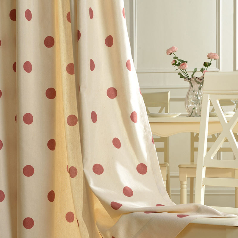 Polka Dot Simple And Cute Polyester Cotton Curtains Fabrics Window