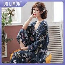UNLIMON Women Korean Fashion Sleepwear Sets 3pcs Pajamas Long Sleeve Pants