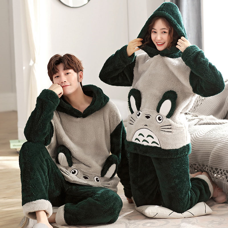 Winter Couple Pajamas Warm Thicken New Unisex Adult Cute Hooded Male Pajamas Set Long Sleeve Sleepwear Cute Cartoon Home Clothes
