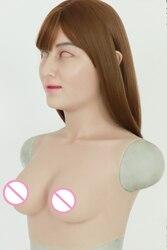 كروسدرينج سيليكون أنثى واقعية قناع الجلد وهمية B كأس أشكال الثدي ل كروسدرسر شيميل تنكر الوثن المتحولين جنسيا