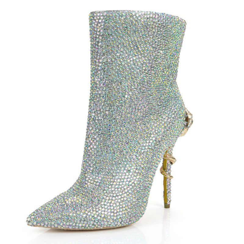 Nova chegada sapatos de salto alto para mulher apontou toe tornozelo botas lado zíper cristal decoração senhora vestido sapatos de casamento botas