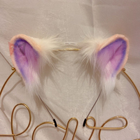 MMGG New Purple Bear Ears Hairhoop Tail Headwear Beast Cosplay Costume Accessories for Girl Women Handmade Work