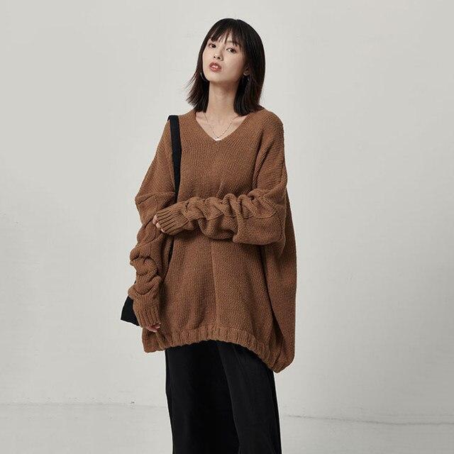 [EAM] Big Size Oversize Knitting Sweater Loose Fit V-Neck Long Batwing Sleeve Women New Fashion Tide Autumn Winter 2019 1B621 30